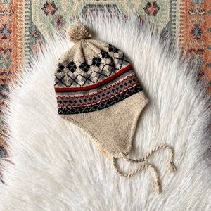 Women's small winter knit pompom beanie wool hat fair isle argyle pattern